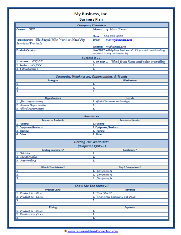 Sample small business plan one page plan accmission